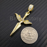 ICED OUT HIP HOP LAB DIAMOND 14K GOLD PLATED SAVAGE 21 SWORD PENDANT