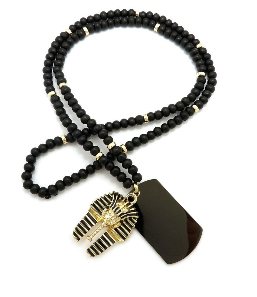"Hip Hop Iced Egyptian King Tut & Dog Tag Pendant w/ 6mm 30"" Wooden Bead Necklace"