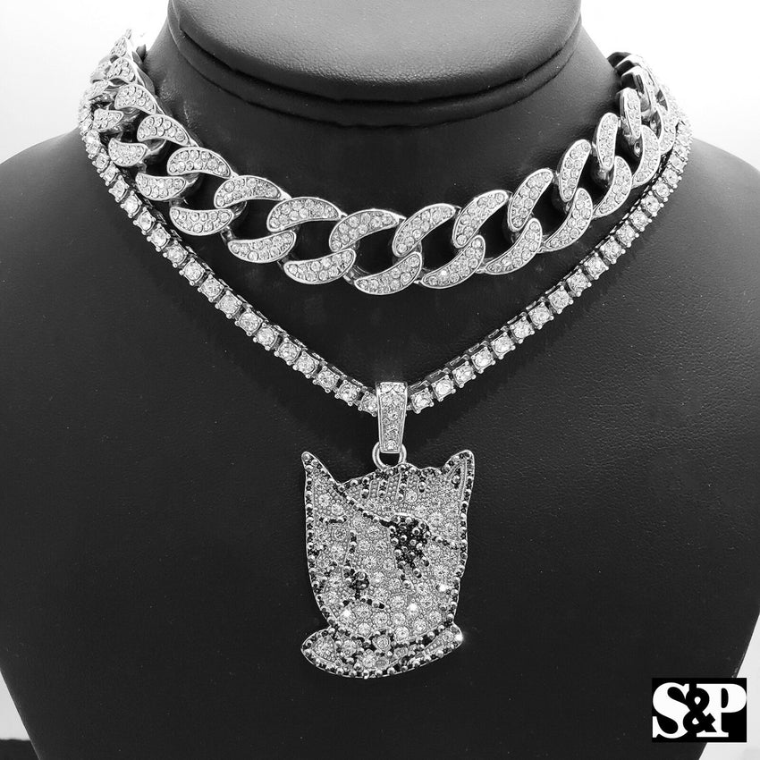 "Hip Hop Uzi Vert Pendant w/ 18"" Full Iced Cuban & 1 ROW DIAMOND Choker Chain Necklace Set"