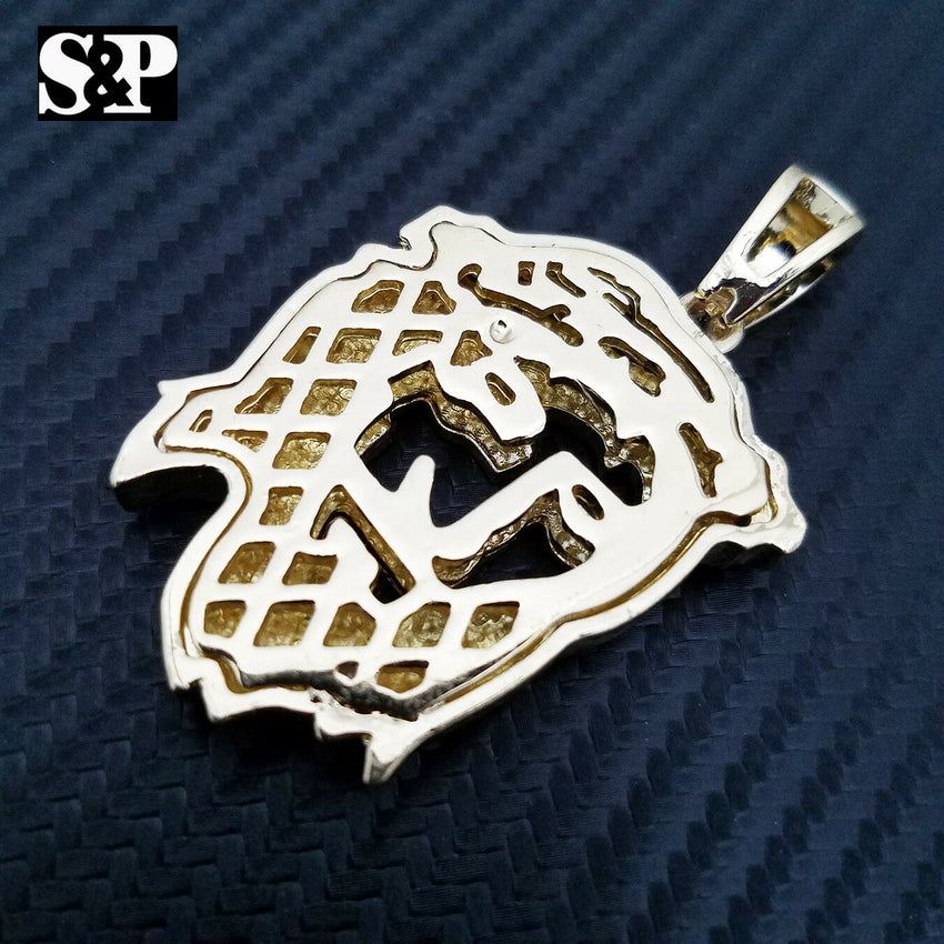 HIP HOP ICED OUT RAPPER STYLE LAB DIAMOND GOLD PLATED 3D JESUS FACE PENDANT