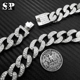 Hip Hop Lil Uzi Vert Iced out Miami Cuban & 1 Row Tennis Chain Choker Necklace Set