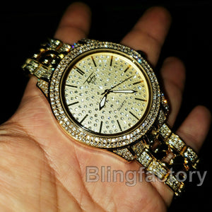Men Hip Hop Iced out Bling Gold PT Rapper's Bling Lab Diamonds Metal Band Watch