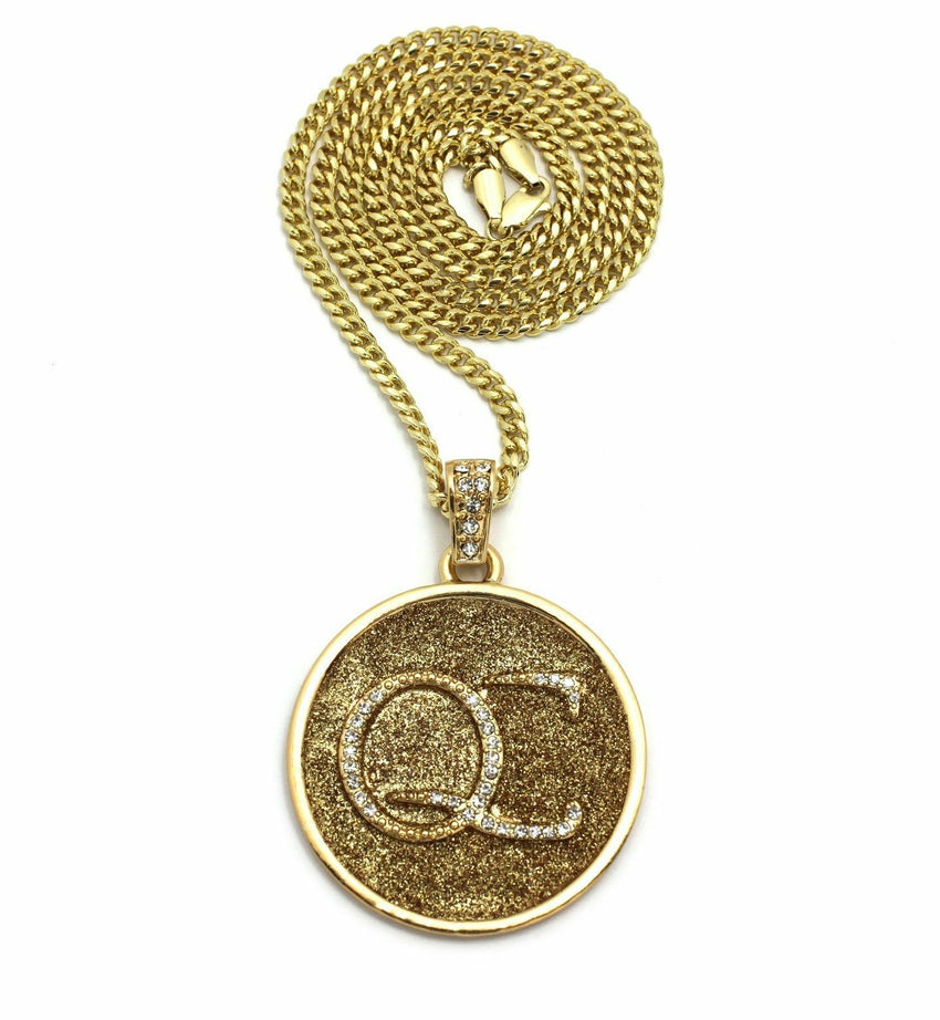 "Bling Round Sand durst QC Pendant & 24"" Rope, Cuban, Box Chain Hip Hop Necklace"