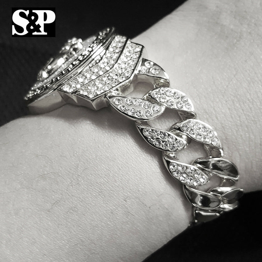 "Hip Hop White Gold Plated 8.5"" CZ Full Iced Out Praying Hands Cuban Bracelet"