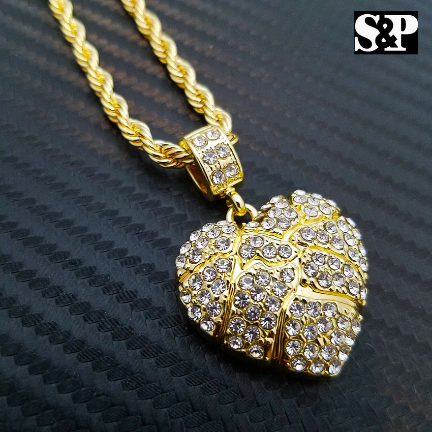 "Iced Out Gold PT Golden Nugget Heart Pendant & 24"" Rope Chain Hip Hop Necklace"