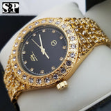 Mens Gold Plated Iced out Luxury Quavo Rapper's Metal Band Dress Clubbing Watch
