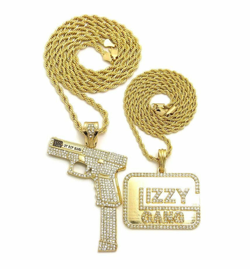 "Hip Hop Iced Out 37 Rip Mary & Glizzy Gang Pendant 24"",30"" Chain 2 Necklace Set"