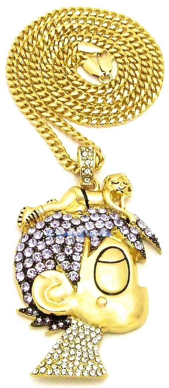 "Hip Hop Iced Uzi Character Pendant & 18"" Full Iced Cuban Choker Chain Necklace Set"