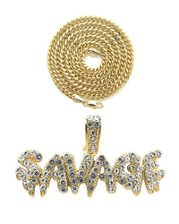 Iced Out Drip SAVAGE Pendant & 18