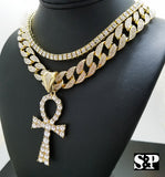 "Hip Hop EGYPTIAN ANKH w/ 18"" Full Iced Cuban & 1 ROW DIAMOND Choker Chain Necklace Set"