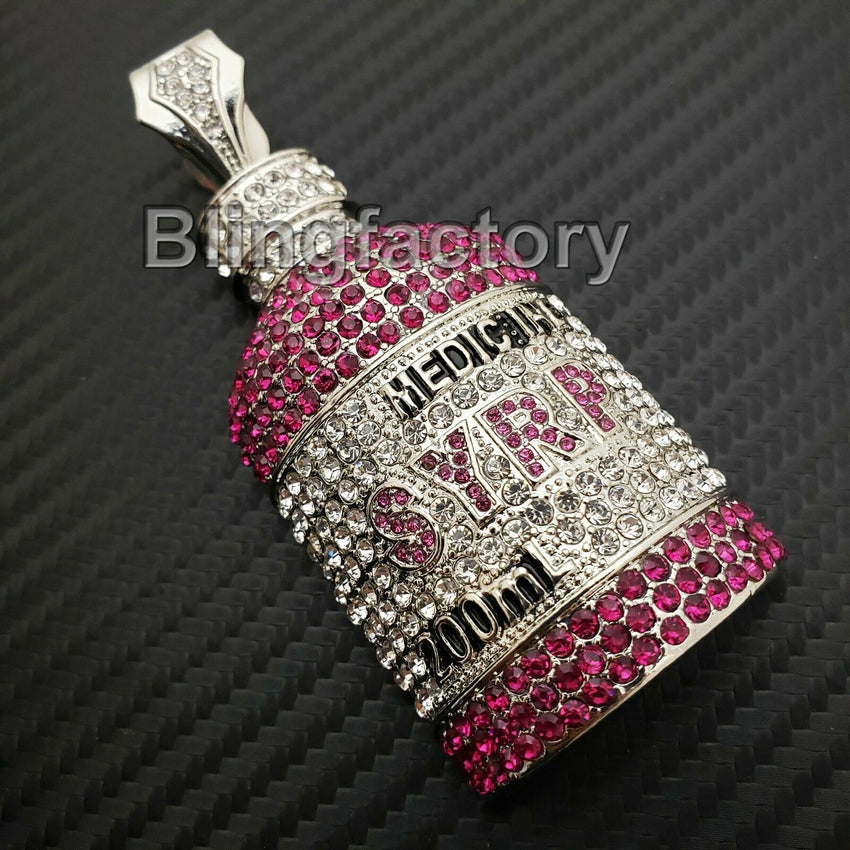 Hip Hop Rapper's Iced Out Lab Diamonds White Gold plated Syrup Bottle Pendant