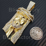 HIP HOP ICED OUT 14K GOLD PLATED BLING LAB DIAMOND LARGE JESUS HEAD PENDANT