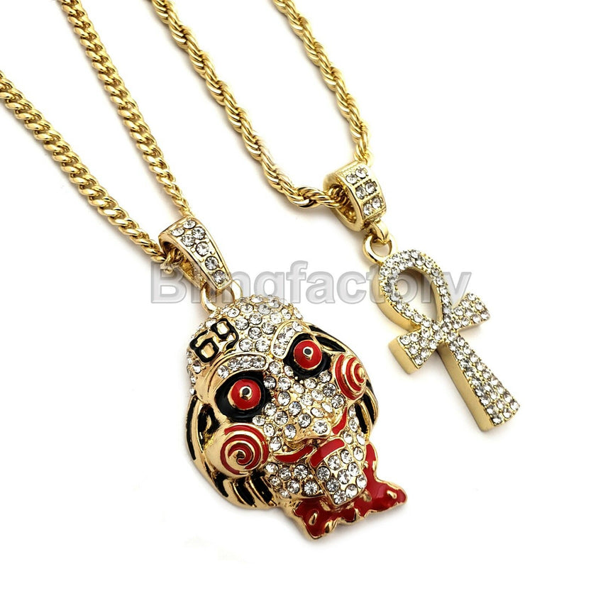 "Iced Out Saw Inspired & Ankh Cross Pendant & 20"" 24"" Rope, Cuban Chain Necklace"