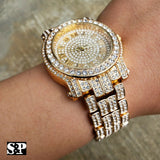 "Men's Hip Hop Iced Out Migos Lab Diamond Watch & ""CULTURE"" Necklace combo Set"