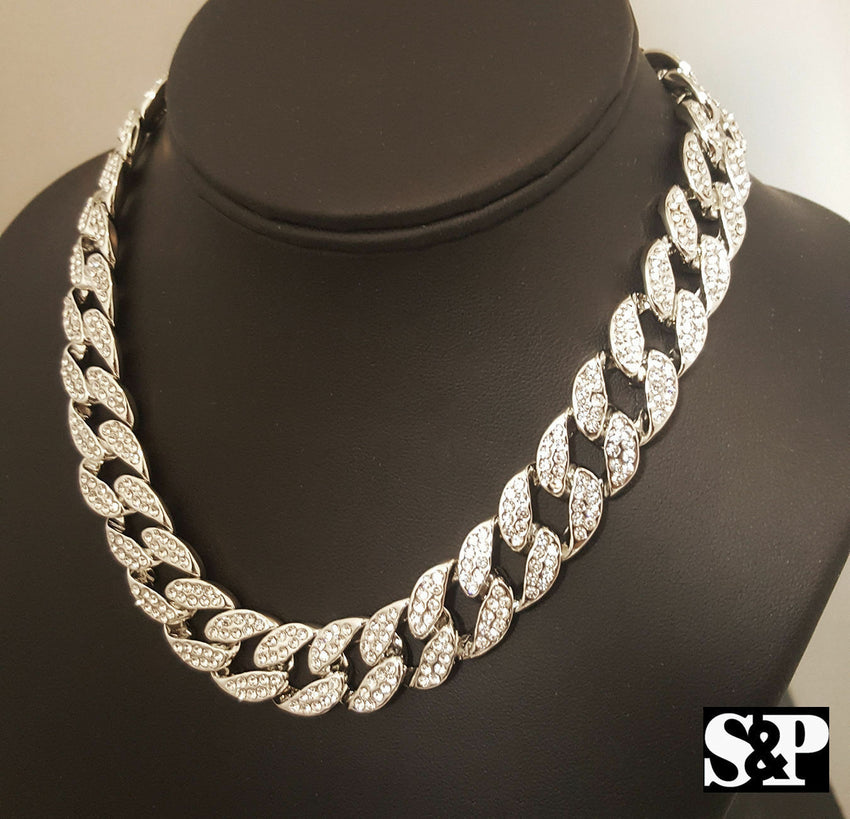 "Hip Hop THE BLACK WALL STREET & 15mm 18"" Full Iced Cuban Choker Chain Necklace"