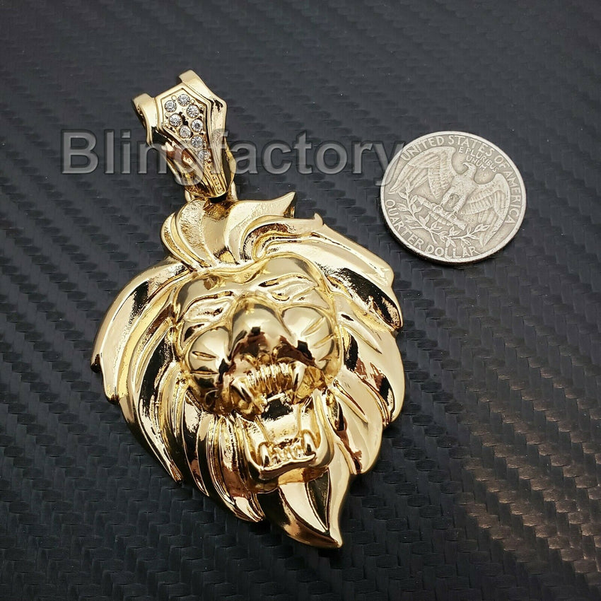HIP HOP ICED OUT RAPPER STYLE GOLD PLATED LION HEAD LEO CHARM PENDANT
