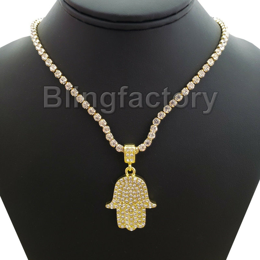 Hip Hop Iced HAMSA KHAMSA Pendant & 1 Row Diamond Tennis Choker Chain Necklace