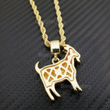 "Hip Hop Iced out Gold, Silver plated GOAT Pendant & 4mm 24"" Rope Chain Necklace"