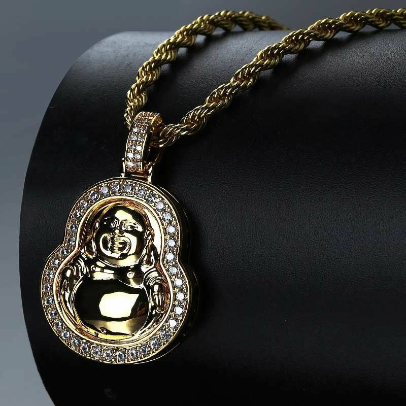 "Unisex Fashion Iced out Happy Buddha Pendant w/ 4mm 24"" Rope Chain Necklace"