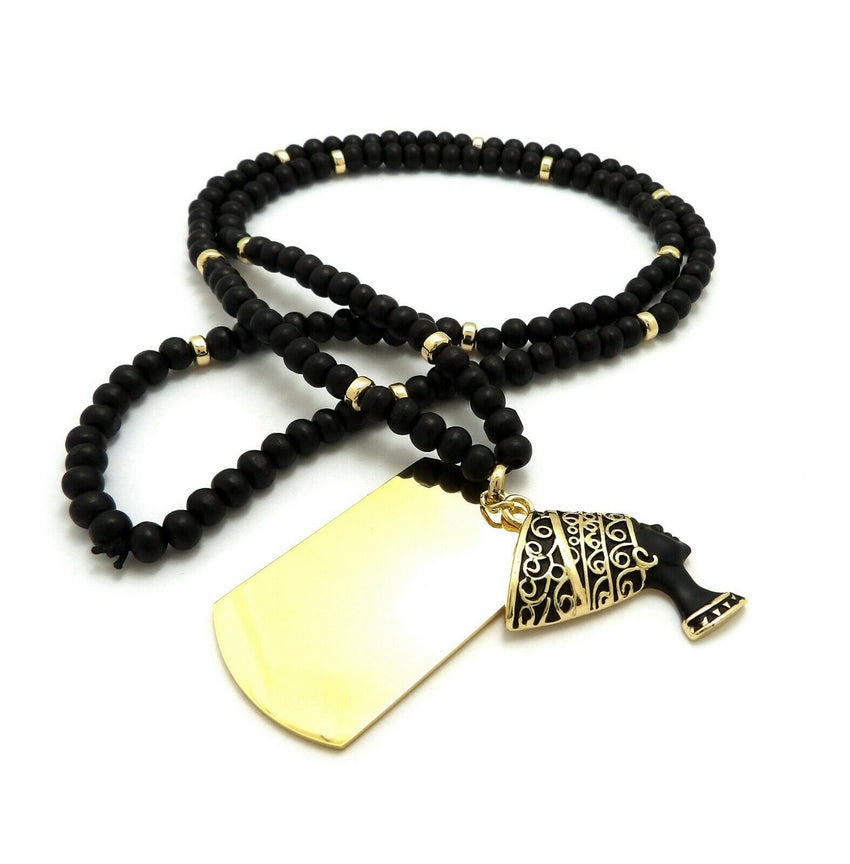 "Hip Hop Egyptian Nefertiti & Dog Tag Pendant w/ 6mm 30"" Wooden Bead Necklace"