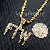 "Hip Hop Iced out Lab Diamond FTW DRIP Pendant & 4mm 24"" Rope Chain Necklace"