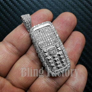 HIP HOP ICED OUT WHITE GOLD PLATED BRASS RETRO THROWAWAY PHONE CHARM PENDANT