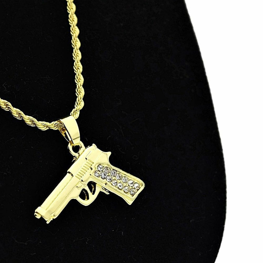 "Hip Hop Iced Out Gold Plated CZ Beretta Gun Pendant w/ 24"" Rope Chain Necklace"