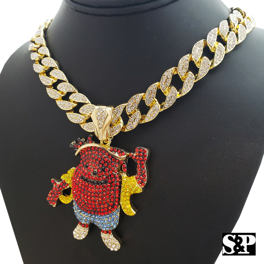 "Hip Hop KOOL AID MAN w/ 18"" Full Iced Cuban & 1 ROW DIAMOND Choker Chain Necklace Set"