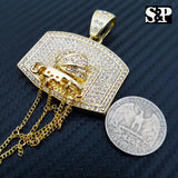 HIP HOP ICED OUT LAB DIAMOND GOLD PLATED BLING BASKETBALL BACKBOARD PENDANT