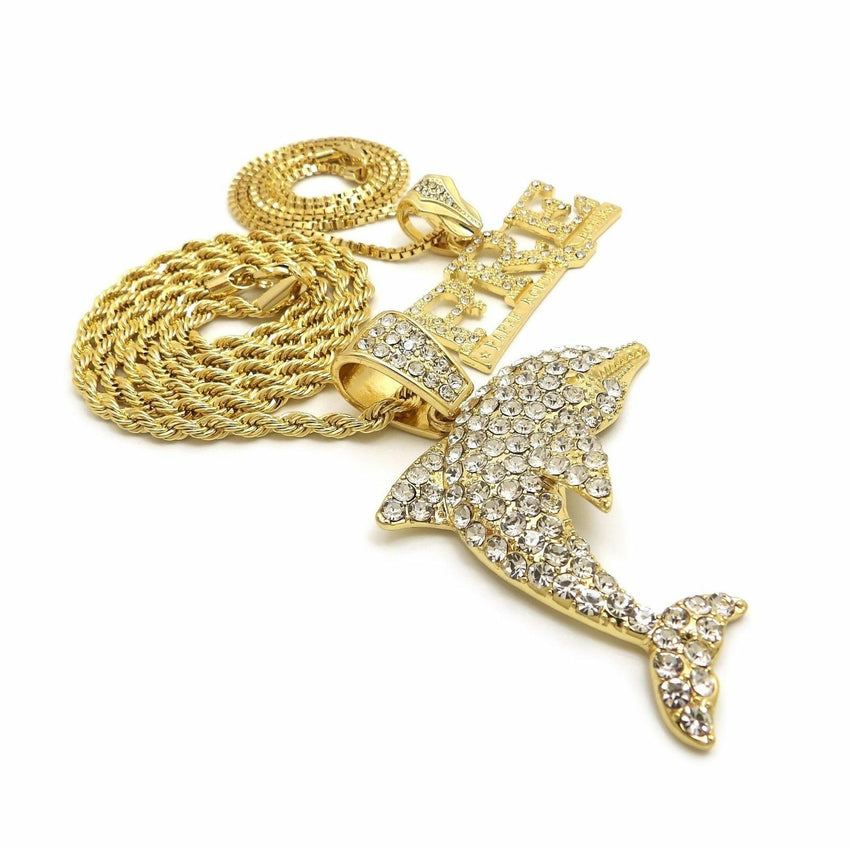 "Hip Hop Iced Out Dolphin, PRE Pendant & 24"" Box, 4mm 30"" Rope Chain Necklace Set"