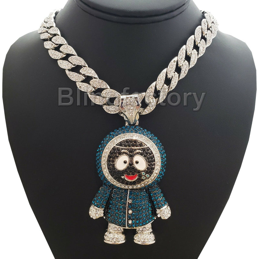 "BRICK SQUAD ESKIMO PENDANT & 18"" Full Iced Miami Cuban Choker Chain Necklace"