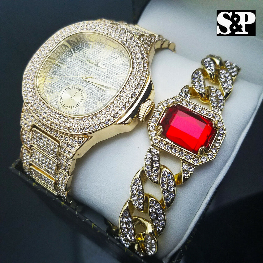 HIP HOP QUAVO GOLD PT LUXURY WATCH & RED RUBY ICED OUT CUBAN BRACELET COMBO SET