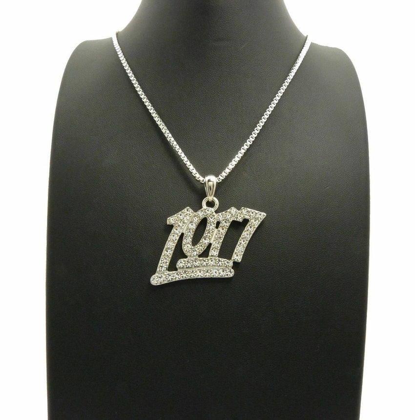 "Iced Out Mini Number 1017 Pendant & 24"" Box, Cuban, Rope Chain Hip Hop Necklace"