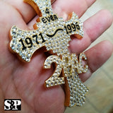 HIP HOP FULL ICED OUT GOLD PLATED RAPPER 2PAC CROSS LARGE PENDANT