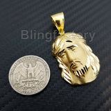 ICED OUT HIP HOP BRASS GOLD PLATED JESUS HEAD DIAMOND CUT CHARM PENDANT