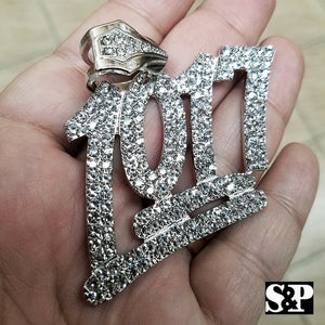 HIP HOP RAPPER'S FULL ICED OUT WHITE GOLD PLATED LAB DIAMOND 1017 LARGE PENDANT