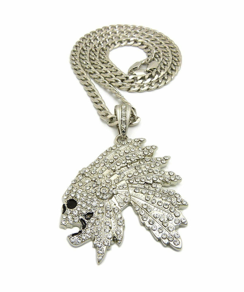 "Iced Out Side Skull Cheif Face Pendant & 7mm 30"" Cuban Chain Hip Hop Necklace"