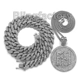 "Hip Hop Tekashi69 69 Medal Necklace & 12mm 18"" Full Iced out Cuban Choker Chain"