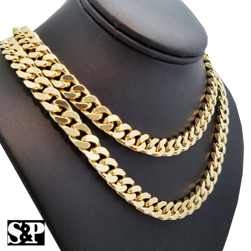"Hip Hop Rapper's Gold Plated 10mm 16"", 18"", 20"", 24"" Miami Cuban Chain Necklace"