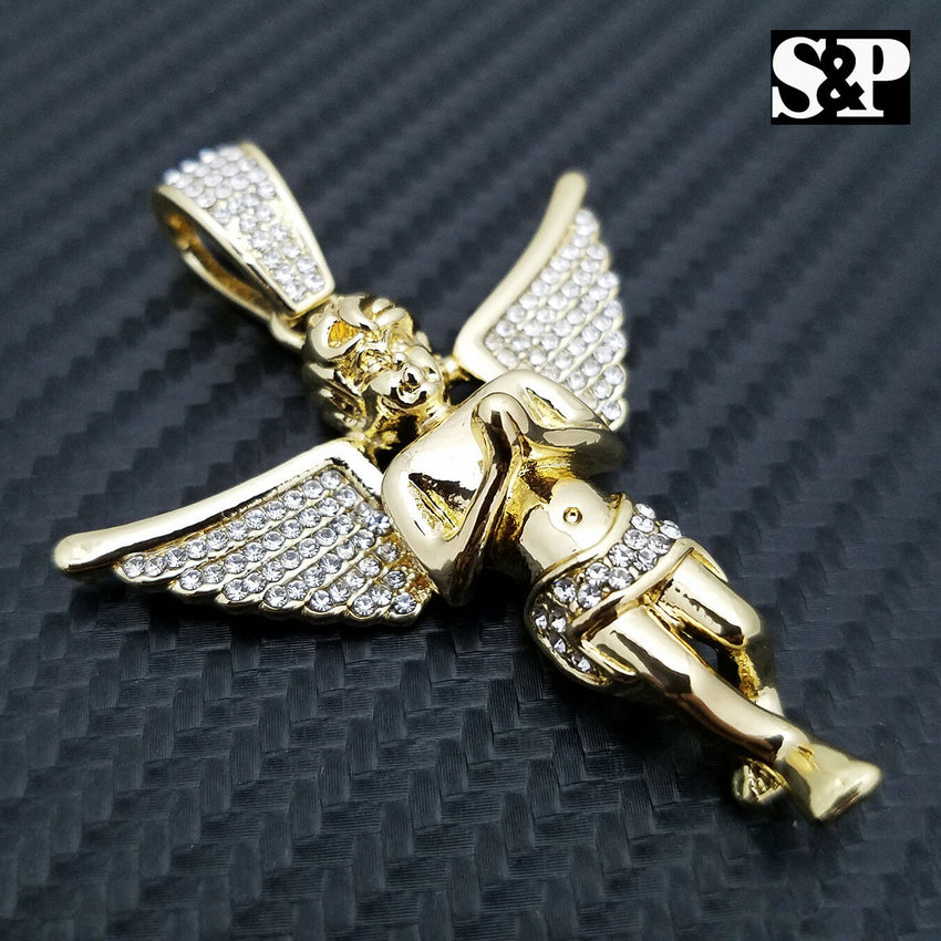HIP HOP ICED OUT RAPPER STYLE LAB DIAMOND 14K GOLD PLATED BABY ANGEL PENDANT