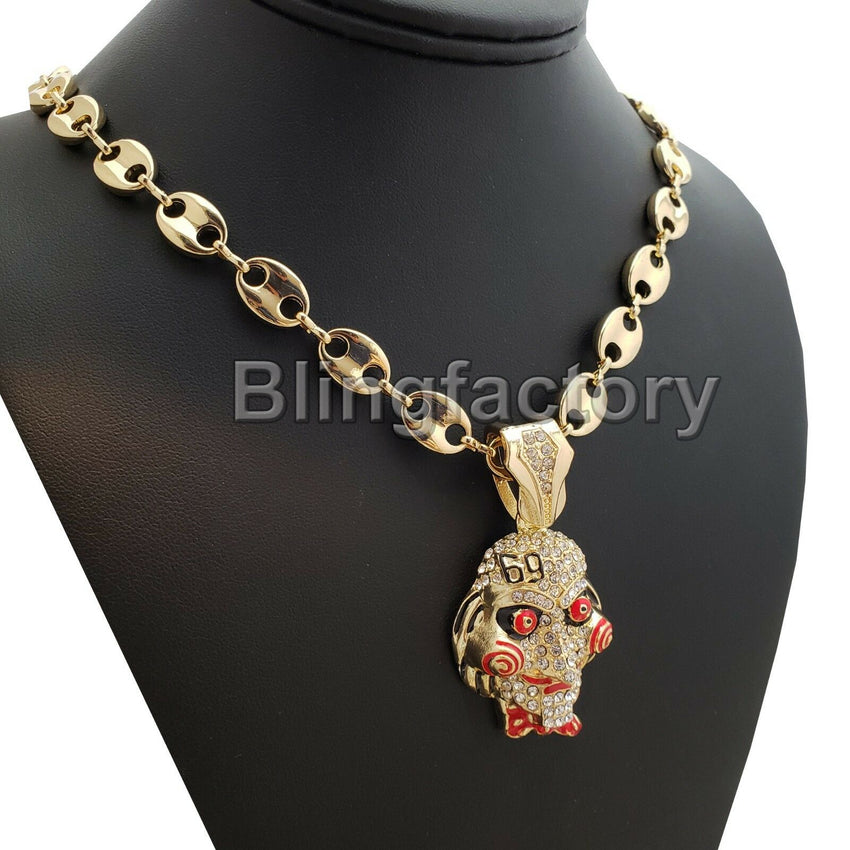 "Hip Hop Iced out Tekashi69 Jigsaw pendant w/ 10mm 24"" Gucci Chain Necklace"