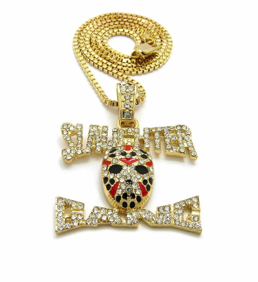 "Iced Out 21 SAVAGE Slaughter Gang Pendant & 24"" Box, Cuban, Rope Chain Necklace"