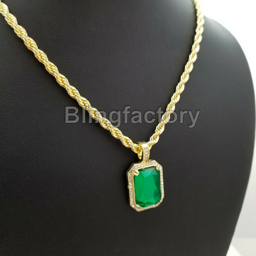 "Hip Hop 14K Gold PT Iced Green Ruby CZ Pendant & 4mm 24"" Rope Chain Necklace"