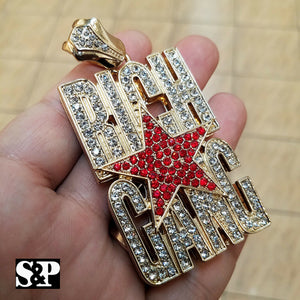 HIP HOP ICED OUT GOLD PLATED LAB DIAMOND RICH GANG LARGE PENDANT