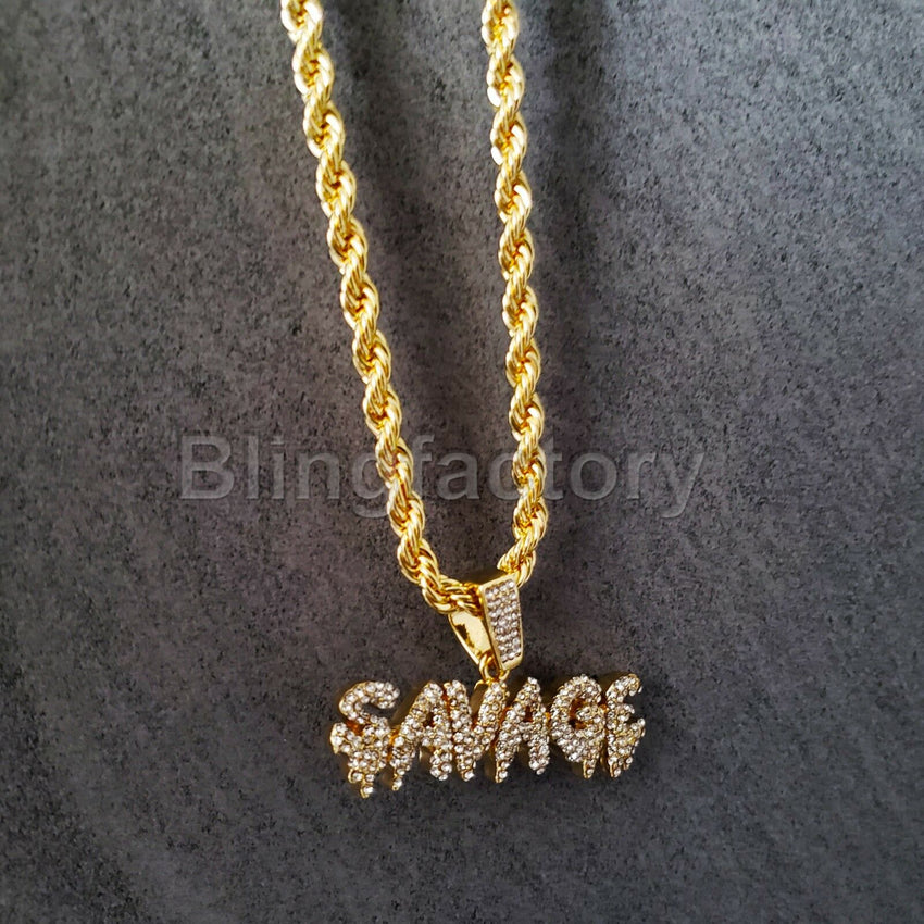 "Iced out Hip Hop Lab Diamond Drip SAVAGE Pendant & 4mm 24"" Rope Chain Necklace"