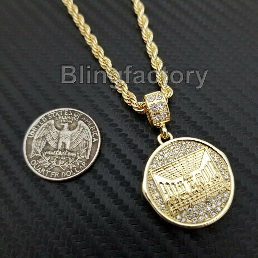 "Hip Hop Iced out Lab Diamond Last Supper Pendant & 4mm 24"" Rope Chain Necklace"