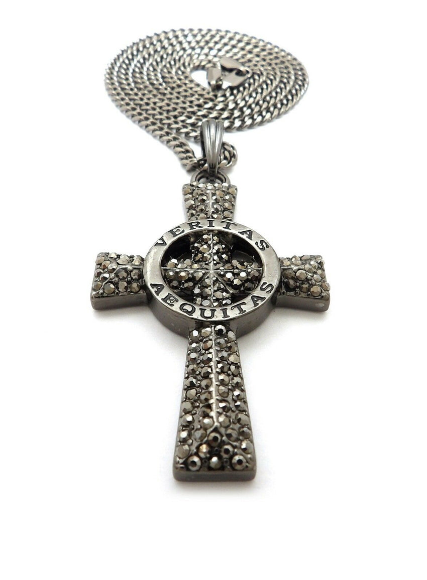"Hip Hop Hematite VERITAS AEQUITAS Cross Pendant & 3mm 24"" Cuban Chain Necklace"