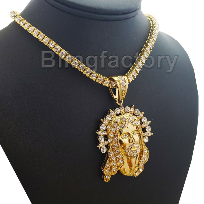 "Iced Hip Hop Jesus Pendant & 18"" Full Iced Cuban & 1 ROW Tennis Choker Chain Necklace Set"
