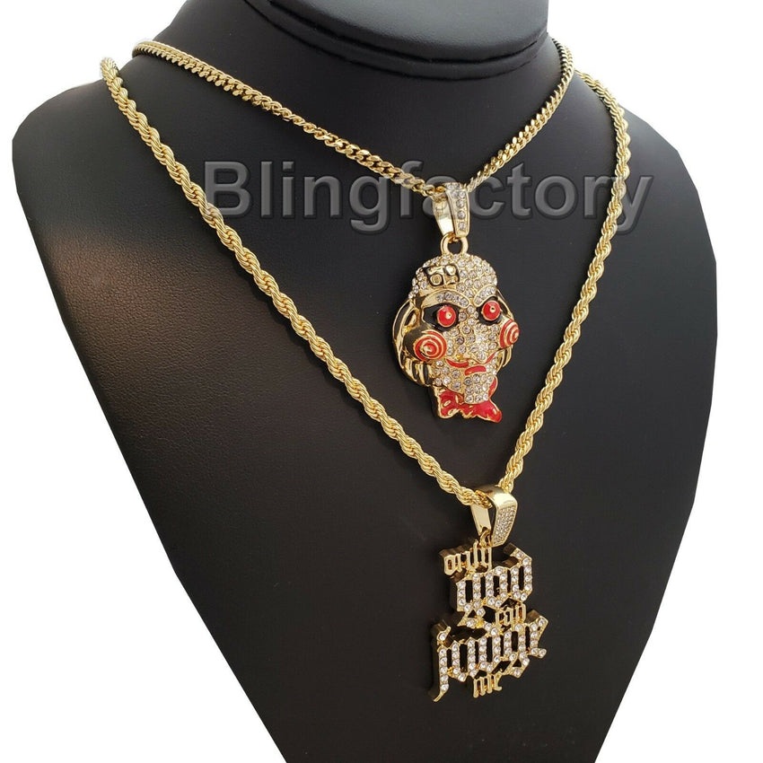 "Iced Saw & ""Only God Can Judge me"" Pendant & 20"" 24"" Rope, Cuban Chain Necklace"