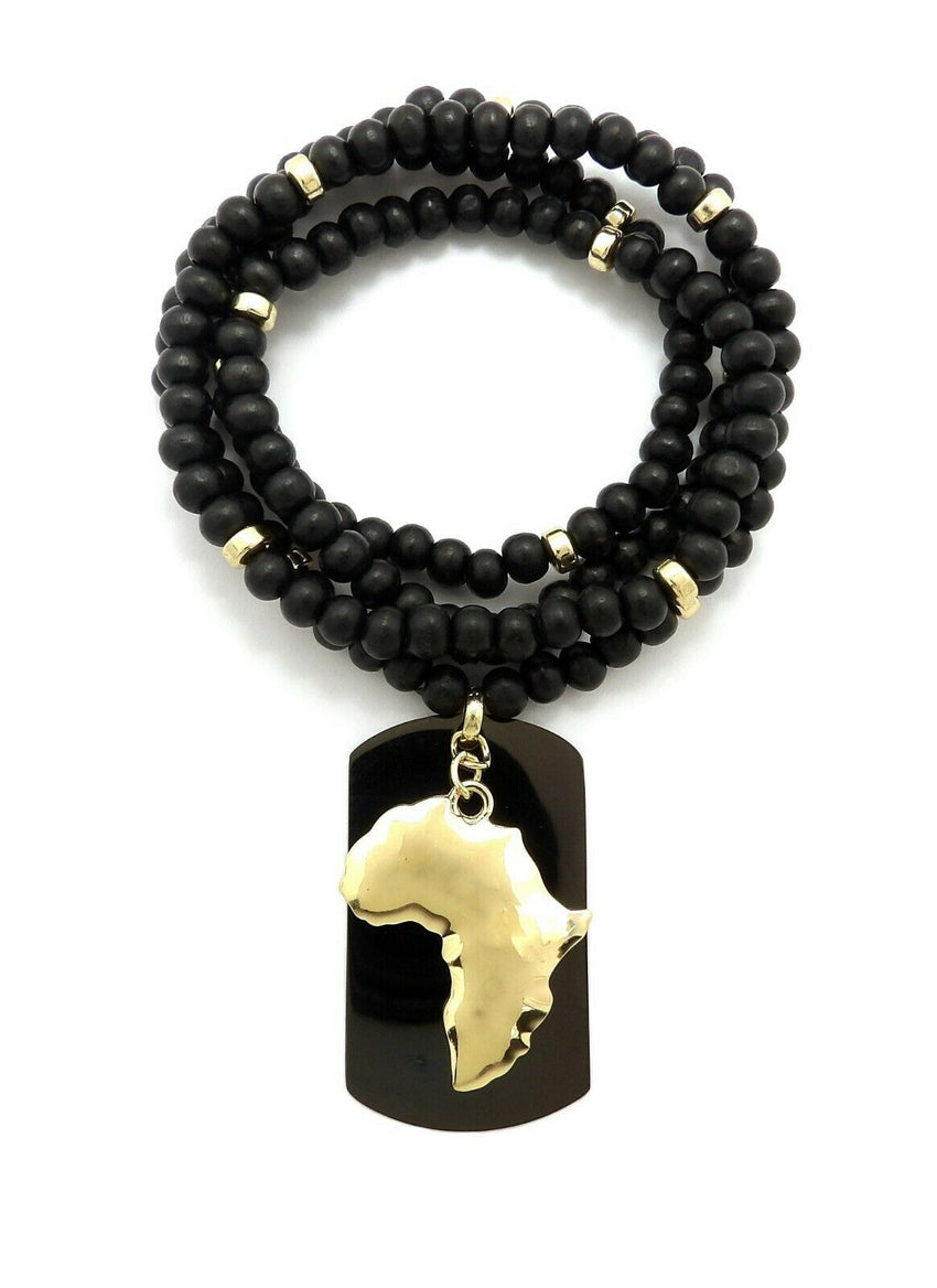 "Hip Hop Iced Egyptian Africa & Dog Tag Pendant w/ 6mm 30"" Wooden Bead Necklace"